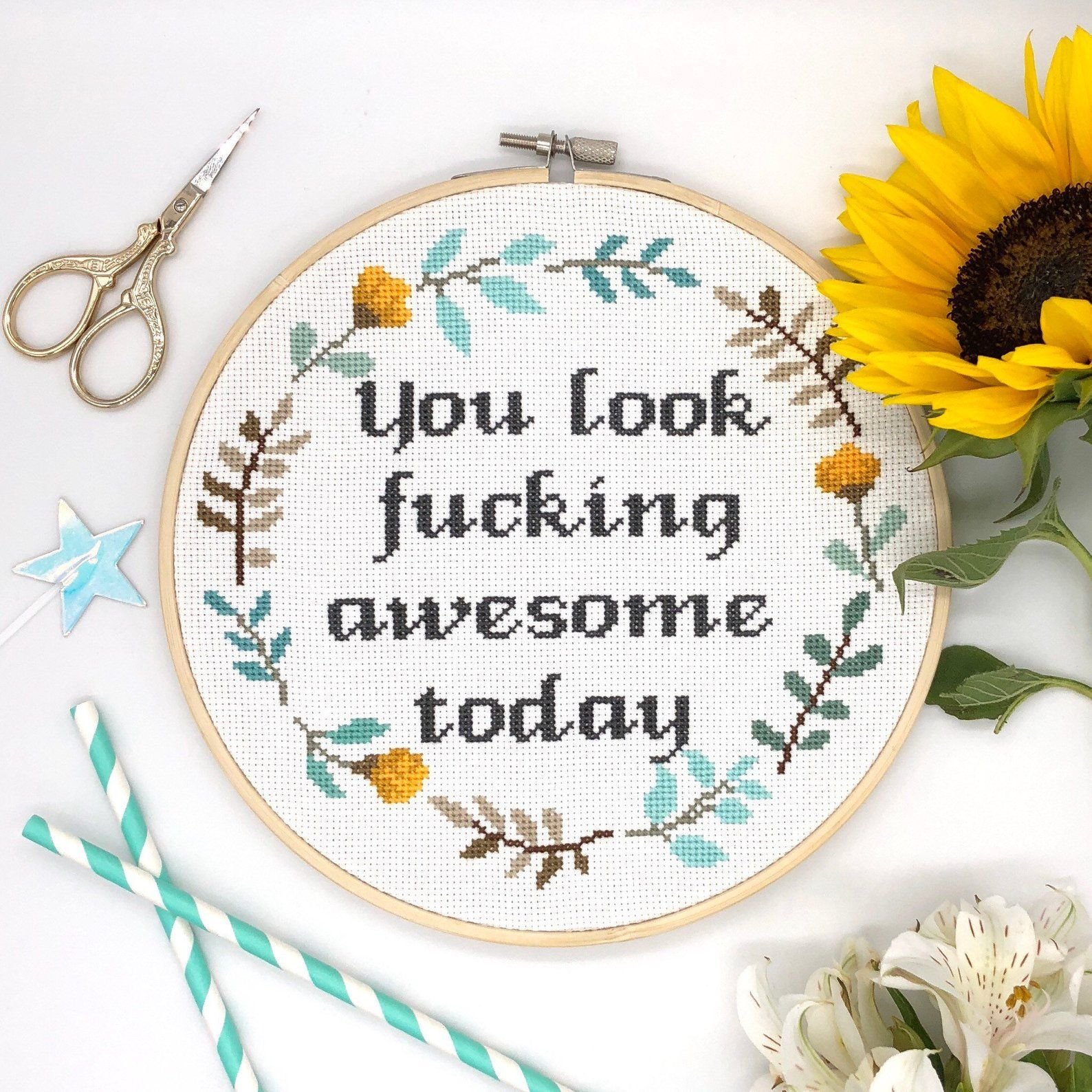 You look awesome Cross Stitch Pattern quote cross stitch floral wreath cross stitch funny cross stitch Modern Cross Stitch