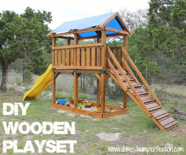 Diy Playset And Staining With Flood Wood Diy Playground Playset Plans Kids Play Set