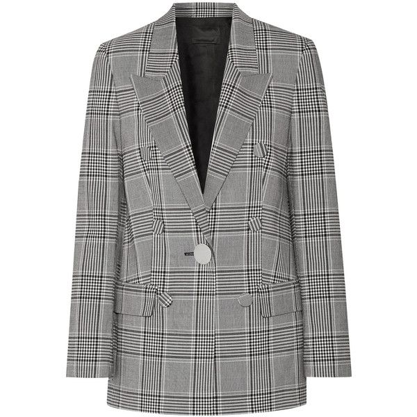 Alexander Wang Leather-trimmed checked crepe blazer (4.852.195 COP) ❤ liked on Polyvore featuring outerwear, jackets, blazers, coats, blazer, black, oversized jacket, tailored jacket, peaked lapel blazer and punk jacket
