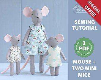 PDF Bear Sewing Pattern & Tutorial — DIY Animal Rag Doll, Cloth Doll, Soft Toy, Stuffed Toy, Bear Doll with Clothes Pattern