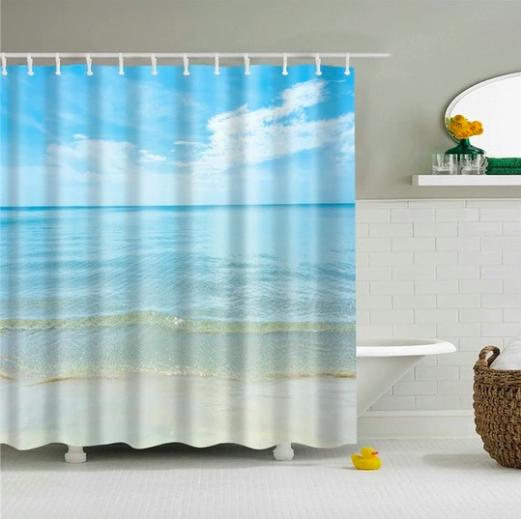 Calm Beach Day Fabric Shower Curtain In 2020 Fabric Shower
