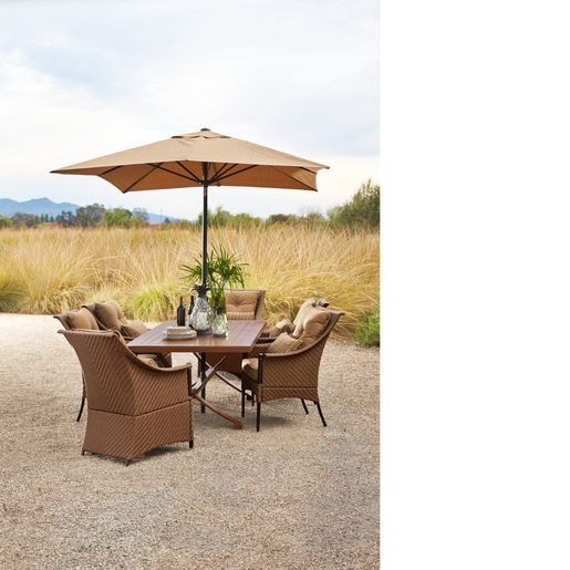 Marsala Umbrella With Dining Table And Chairs Orchard Supply