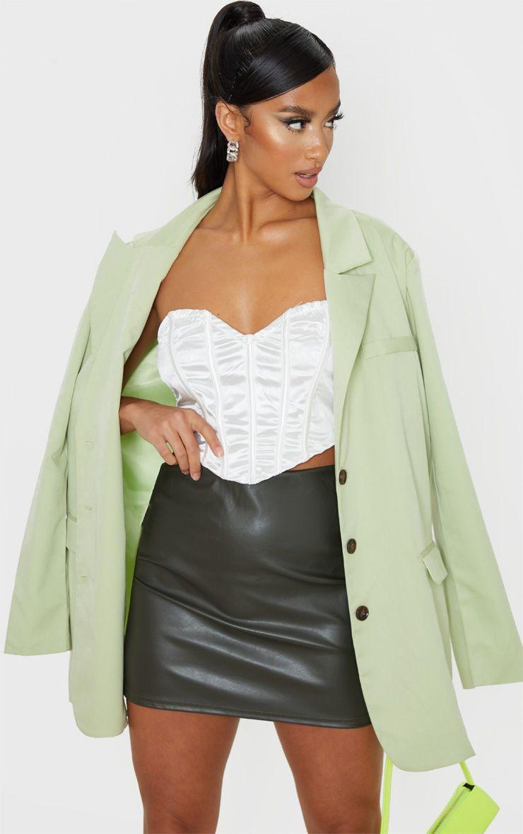 Articat Vintage Black PU Skirts Women High Waist Leather