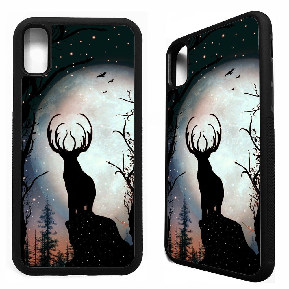 Deer stag full moon animal silhouette rubber case cover