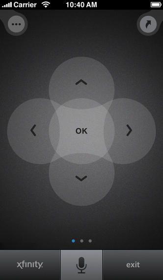 XFINITY TV X1 Remote Navigation Pad iPhone Navigation