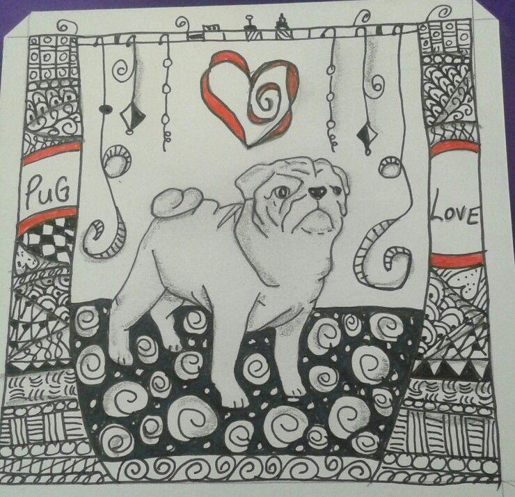 Tangled Pug Original artwork, Artwork, Art