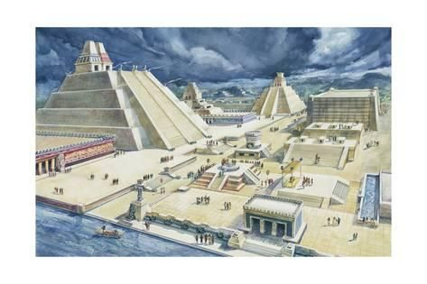 Clouds Over Pyramids Templo Mayor Tenochtitlan Mexico City Mexico Giclee Print Art Com Aztec Temple Pyramids Aztec Empire