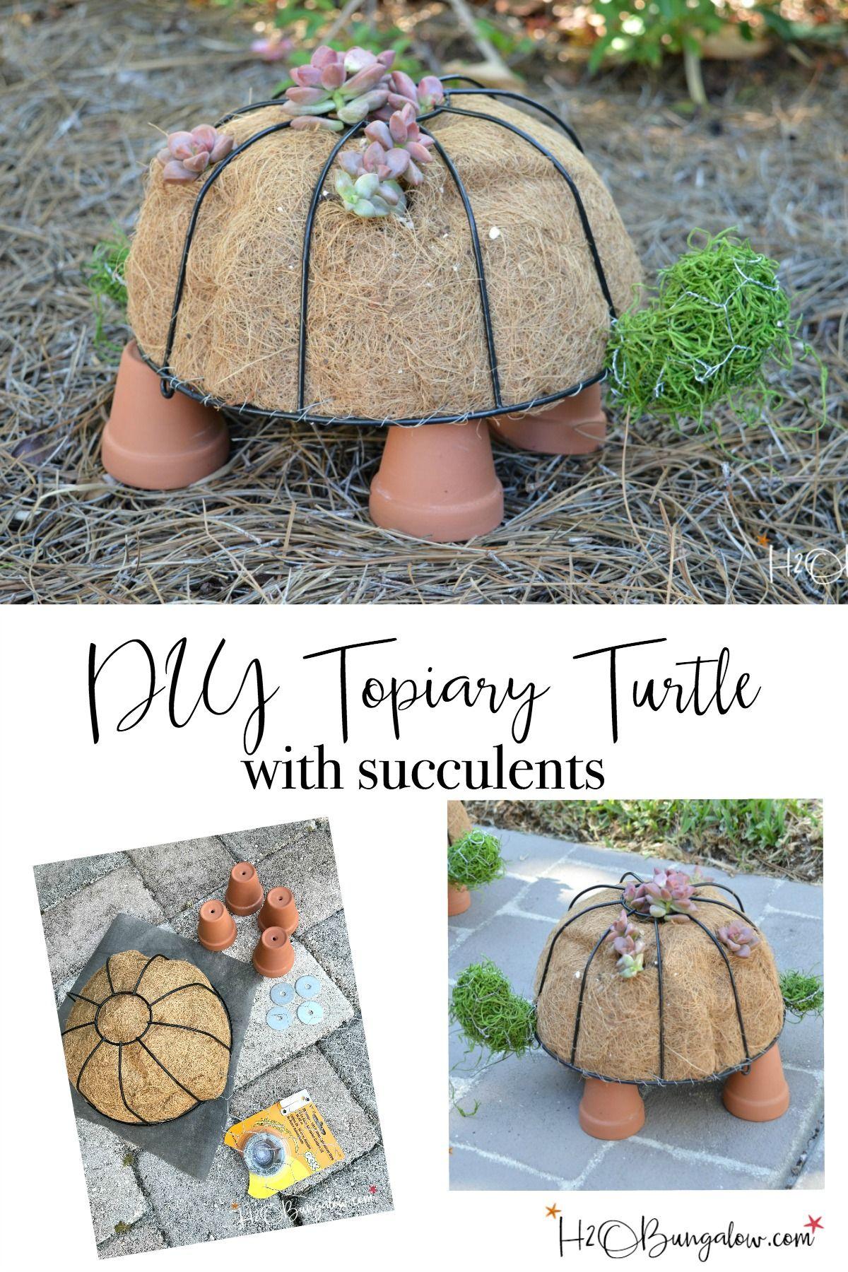Unique diy home garden decor with a shoe planter and succulents - How To Make A Diy Turtle Topiary Diy Garden Decordiy Home