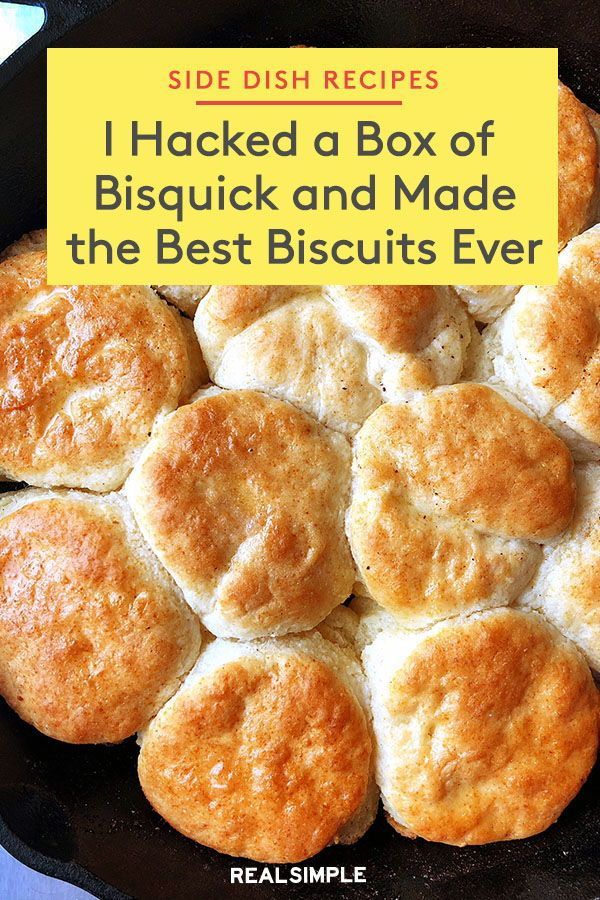 I Just Hacked a Box of Bisquick and Made the Best Biscuits Ever   Create the best biscuits ever with this cooking hack that uses a box of Bisquick mix. Click here for the full recipe to this delicious side dish and add it to any weeknight dinner this year. #recipes #recipeideas #realsimple #fastrecipes #quickrecipe #weeknight