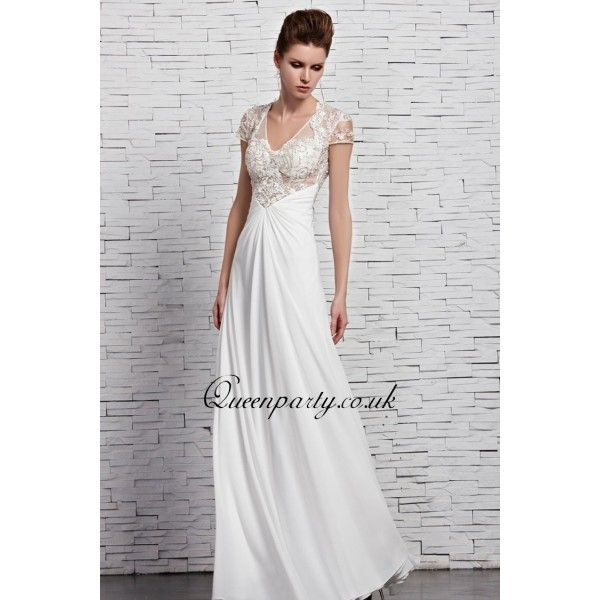 White long dress with lace sleeves