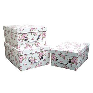 Vintage Rose Storage Boxes   Set Of 3