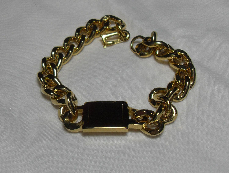 Menus large link gold bracelet vintage retro fashion gold link