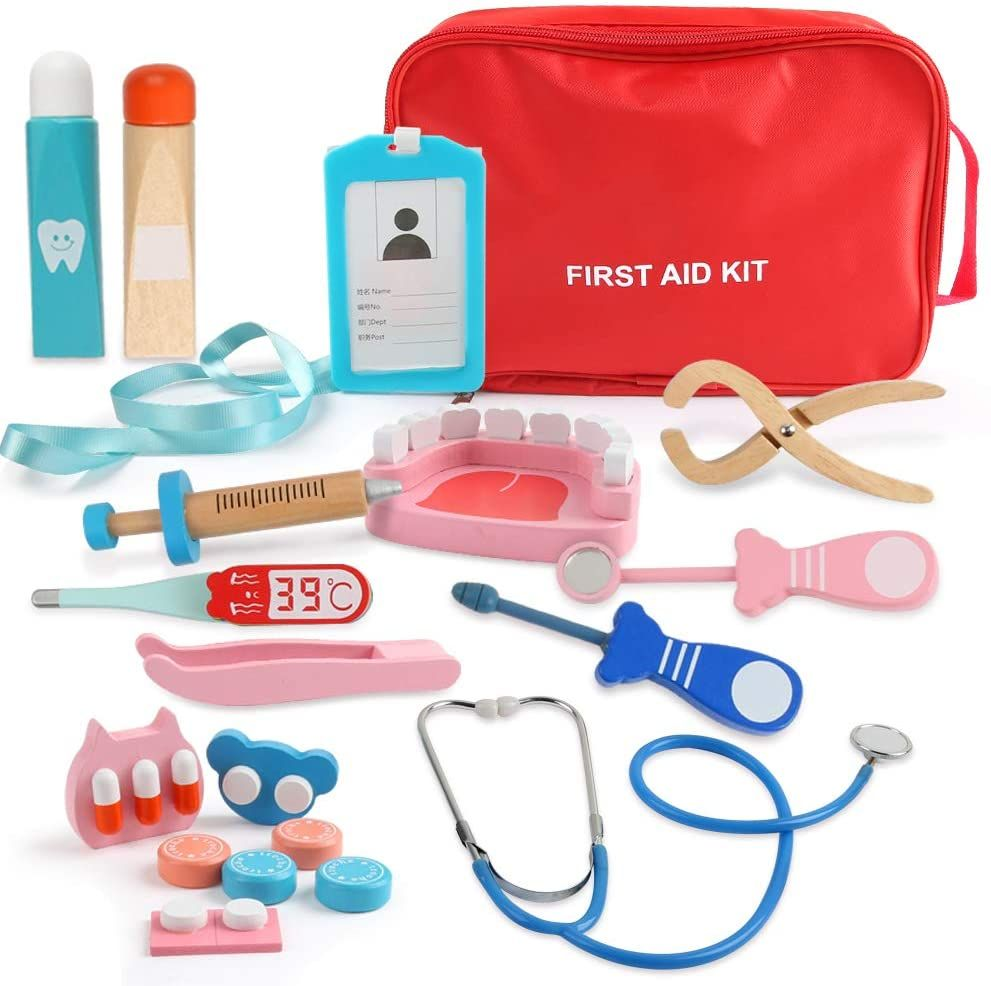Beebeerun Kids Role Play Doctor Kit Toyspretend Play Wooden Doctor Set For Kids Girls Boys Pcs With A Medical Carry Bagstethoscope And Other Equipment Toddler Boy Gifts Kids Role Play Doctor [ 986 x 991 Pixel ]