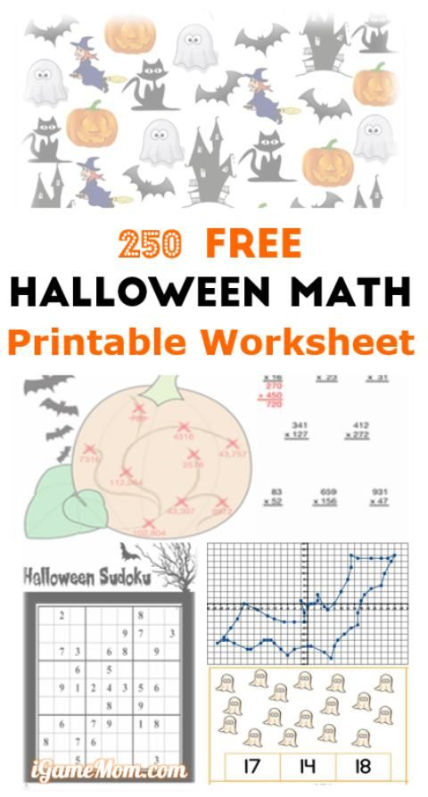 250 Free Halloween Math Printable Worksheets Halloween Math Worksheets Halloween Math Math Printables