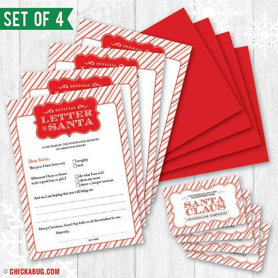 Sale Original Official Letter To Santa Kit Set Of  By Chickabug