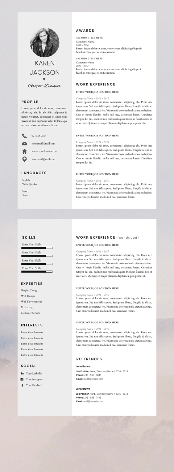 modern resume template for pages cv template for microsoft word