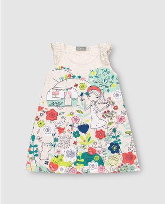 38024b9c4 Vestido de niña Boboli blanco estampado | Todlers | Vestidos para ...