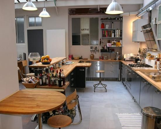 Cuisine inox et bois Cuisine Pinterest - logiciel gratuit architecture maison