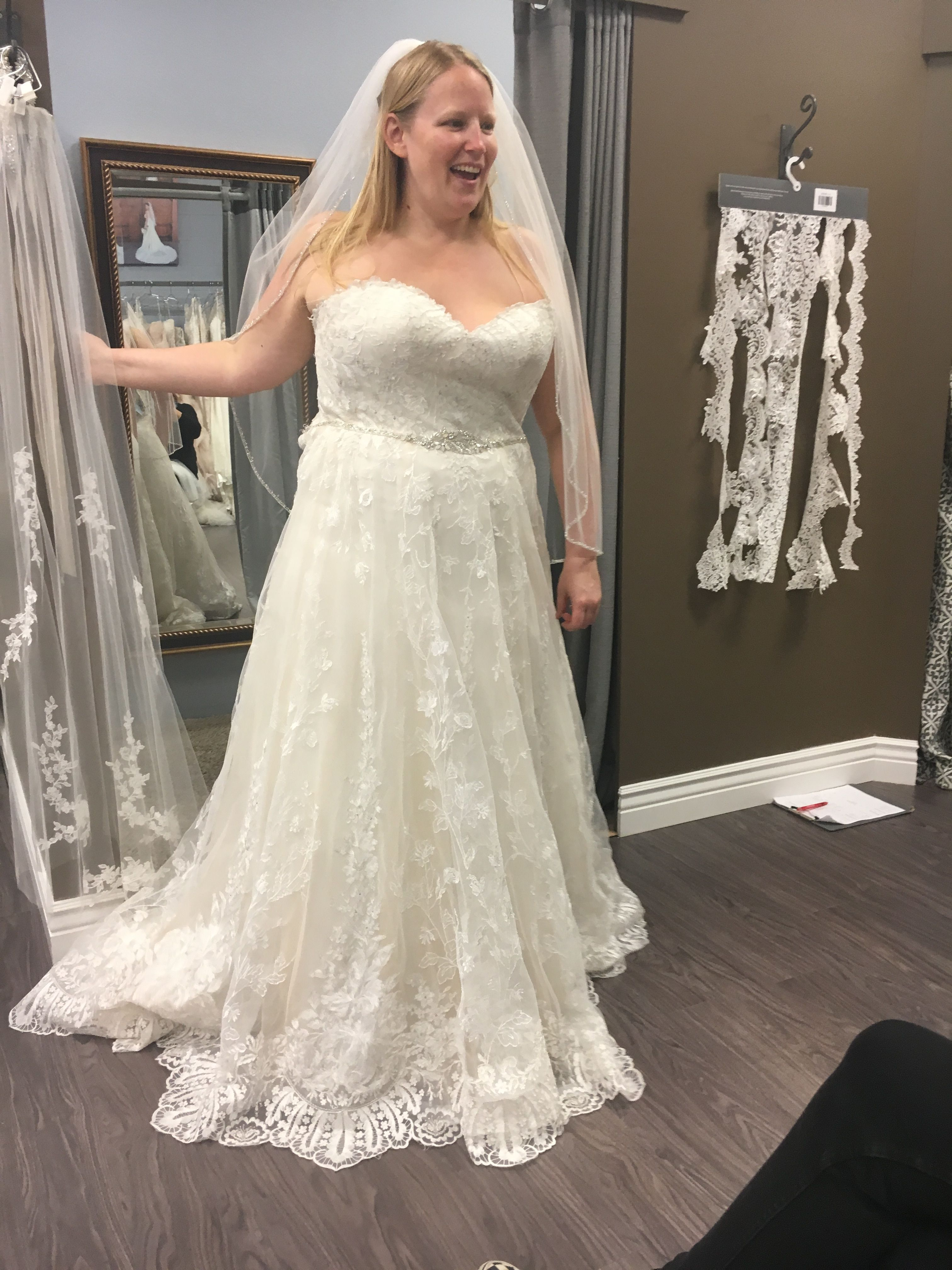 Trying on the Maggie Sottero Luna dress for the first time