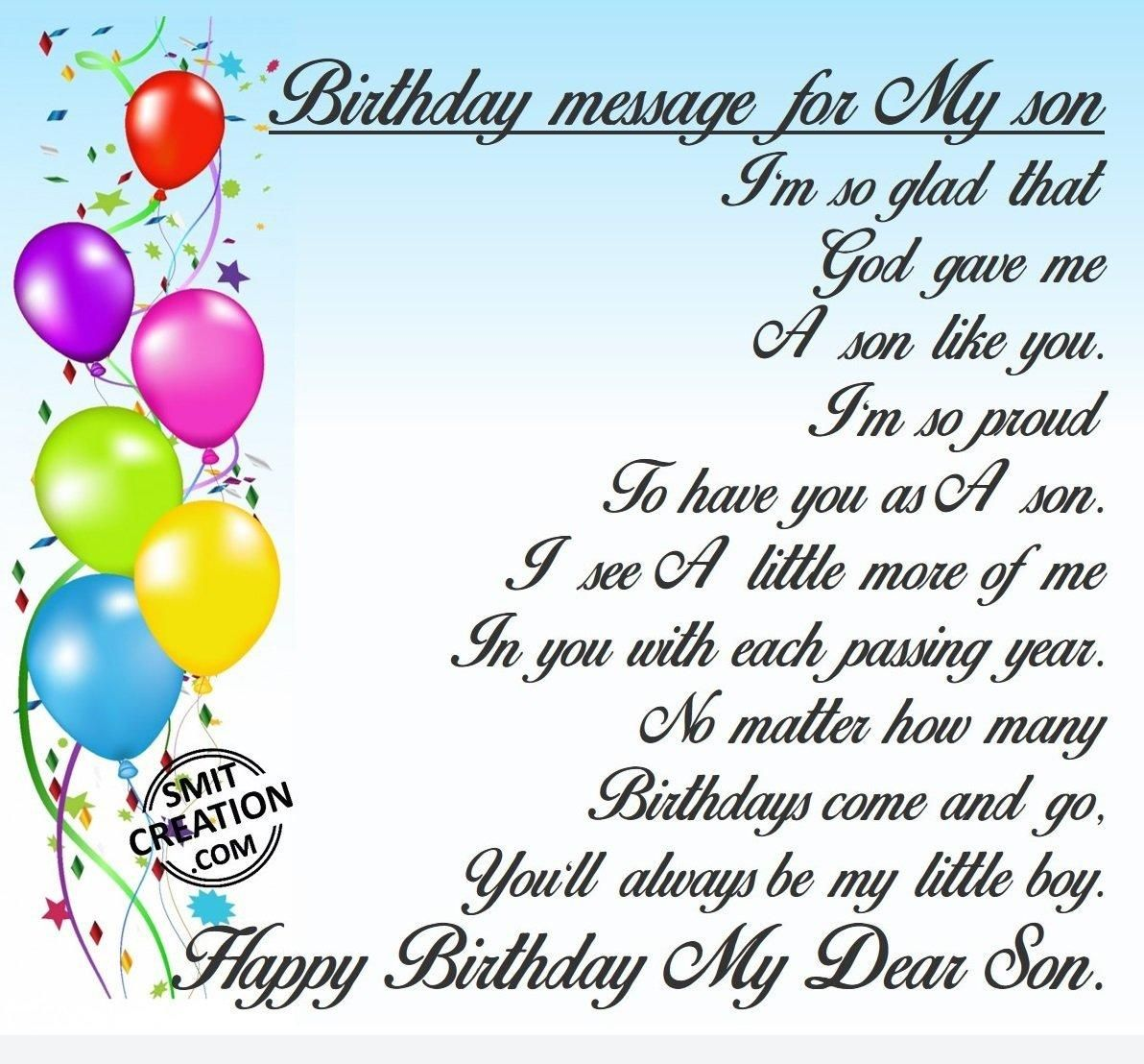 Birthday Wishes For Facebook For Son Birthday Message For My Son