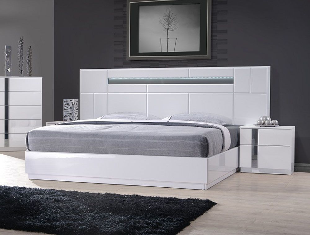 Wood Luxury Platform Bed With Long Headboard Bed Design Modern