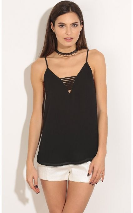 Tops > Strappy Front Chiffon Top In Black