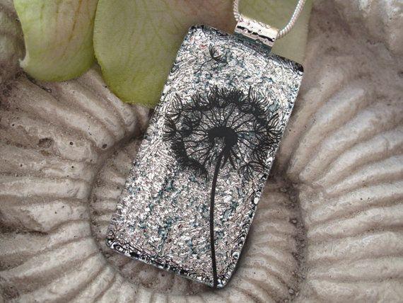 Dandelion Wish Necklace  Dichroic Glass Jewelry   by ccvalenzo, $28.00