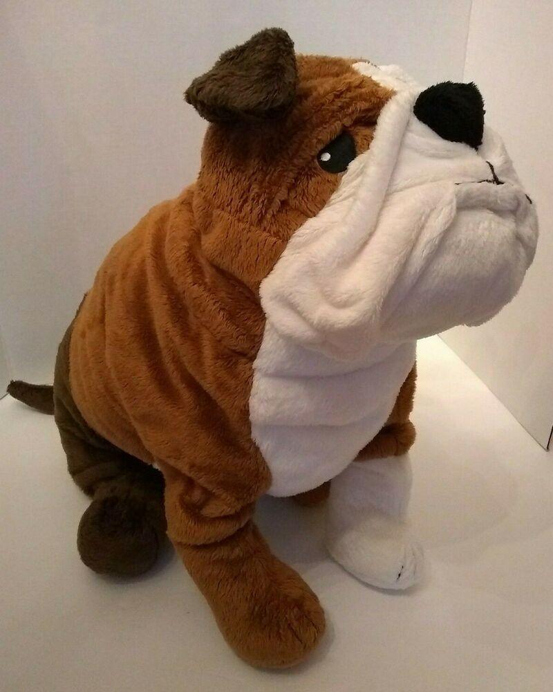 Large Ikea Plush Bulldog Brown 20 White Puppy Dog English Stuffed