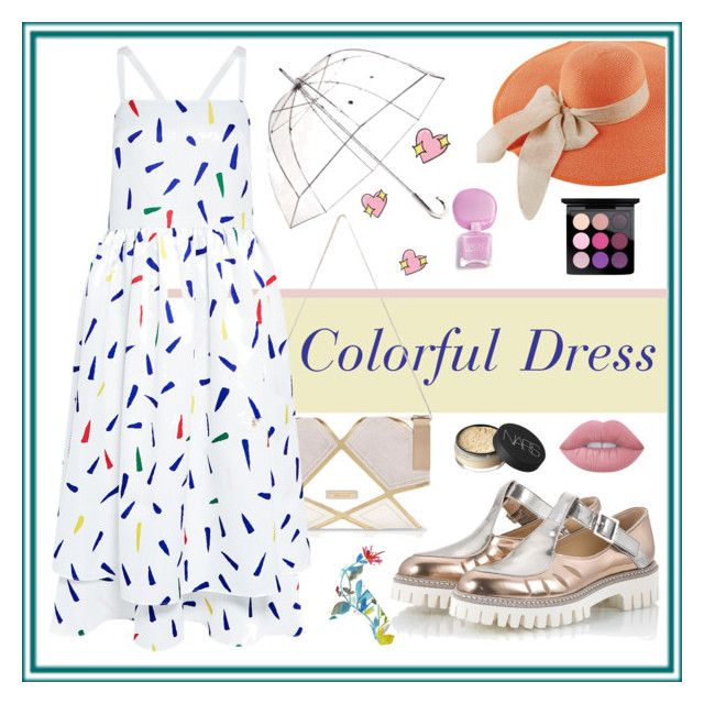 """""""Colorful Dress!"""" by sckamila ❤ liked on Polyvore featuring NARS Cosmetics, Alberto Guardiani, River Island, Lime Crime, MAC Cosmetics, Edit, Totes, Dot & Bo, Big Bud Press and contest"""