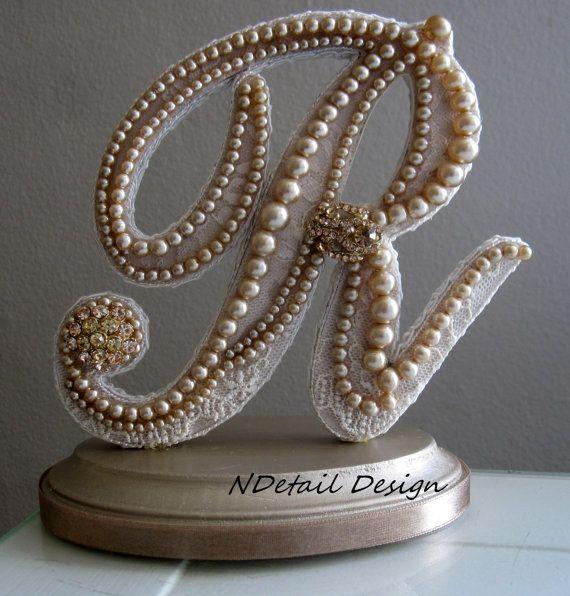 Monogrammed Custom Vintage Pearl Wedding Cake Topper Display