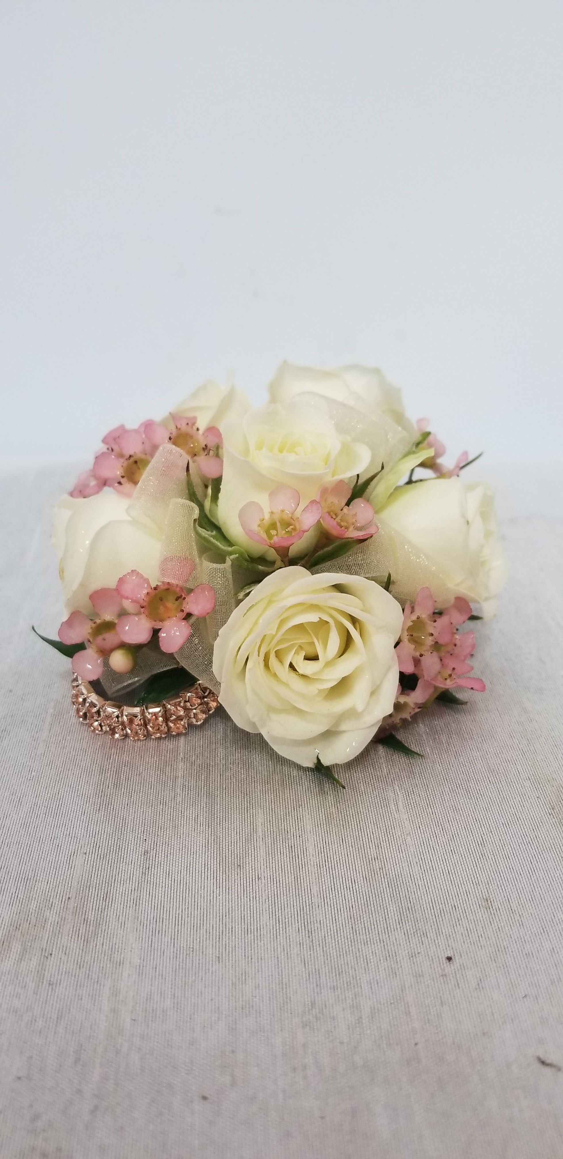 White Prom Flowers Prom Corsage Prom Wristlet White Spray Roses