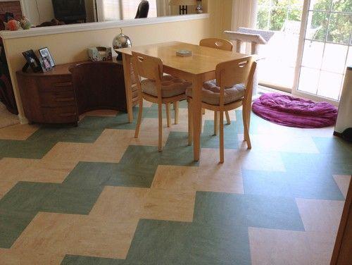 Great color and ziggurat pattern of linoleum tiles make a eclectic