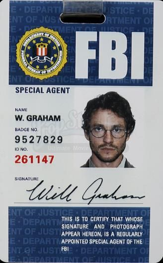 Graham's Will Dancy Price Fbi Current Card 2019 References Lapel And - Series Hannibal 525 Security Id Graham In hugh Hannib…