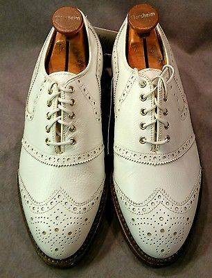 Vintage NOS White Mens Bostonian Golf Shoes Wing Tip, brogue, Leather 6 1 2  EEE 0be11a5788e
