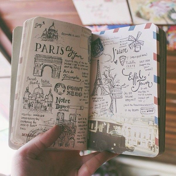 travel journal showcase featuring freehand lettering and