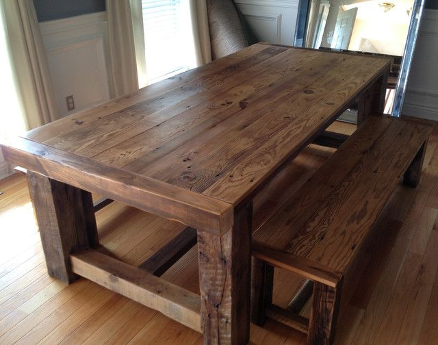 Traditional barn wood dining room table with bench for Traditional dining table for 8