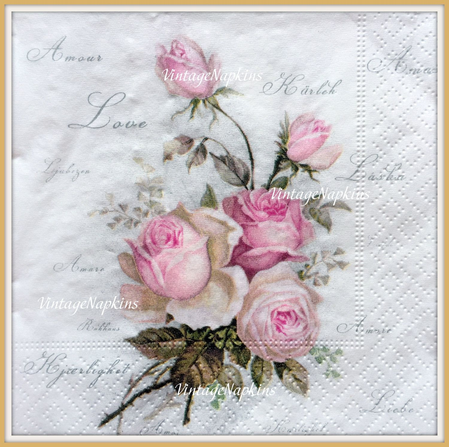 TWO Paper napkins for DECOUPAGE - Vintage Pink Roses Love S072 ...