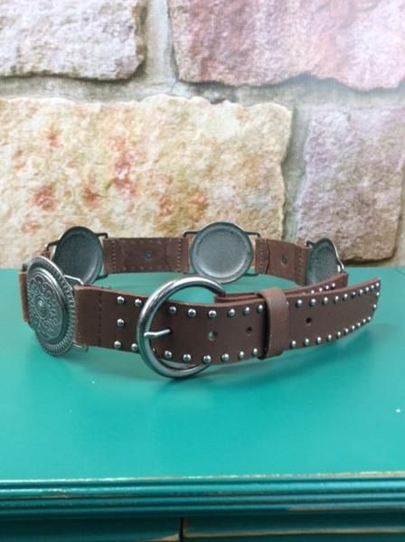 Brown/Silver Concho Belt - BLT160BR