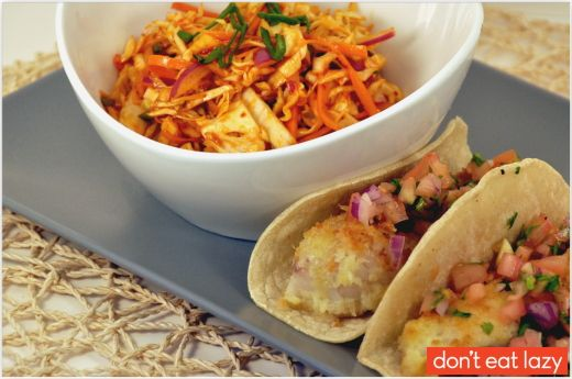 Korean coleslaw with fish tacos