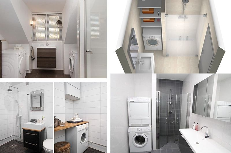 Kleine Badkamer Amsterdam : Voorbeelden van een kleine badkamer met wasmachine interieur