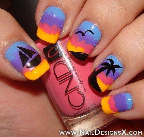 beach nail art - Beach Nail Art Holidays Nail Designs & Nail Art Pinterest