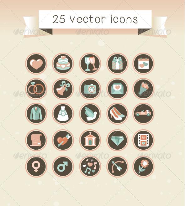 25 vector wedding icons in retro style web design stuff for 25 vector wedding icons in retro style web design stuff for wedding website http junglespirit Choice Image