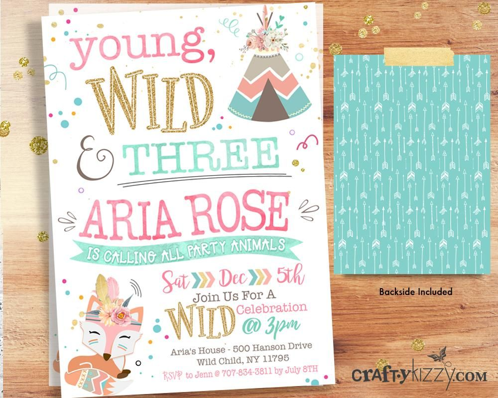 Woodland Birthday Invitation Young Wild And Three Printable Invite