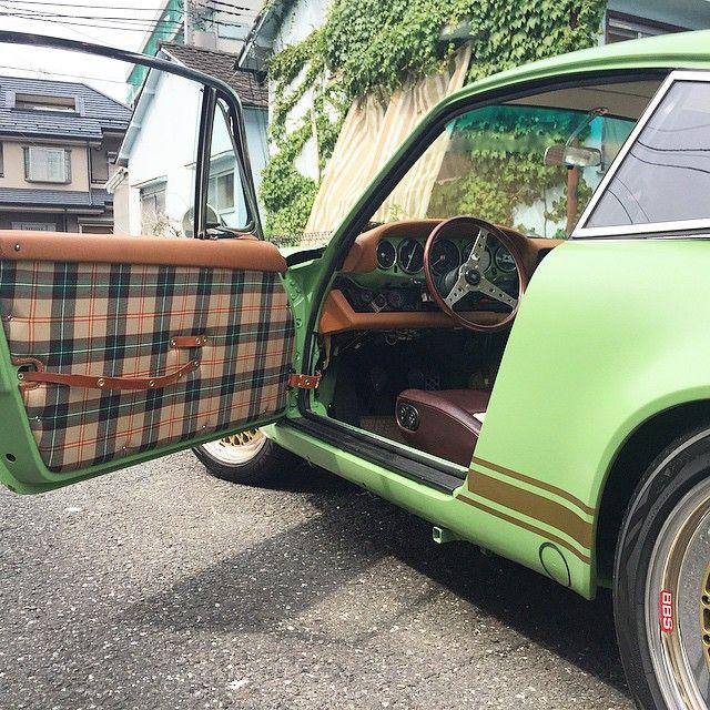 Green plaid car interior - Burberry fabric for car interior ...