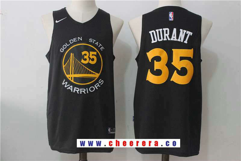 60a10fd3d Men s Golden State Warriors  35 Kevin Durant Black With Yellow Fashion  Stitched Nike Basketball Jersey