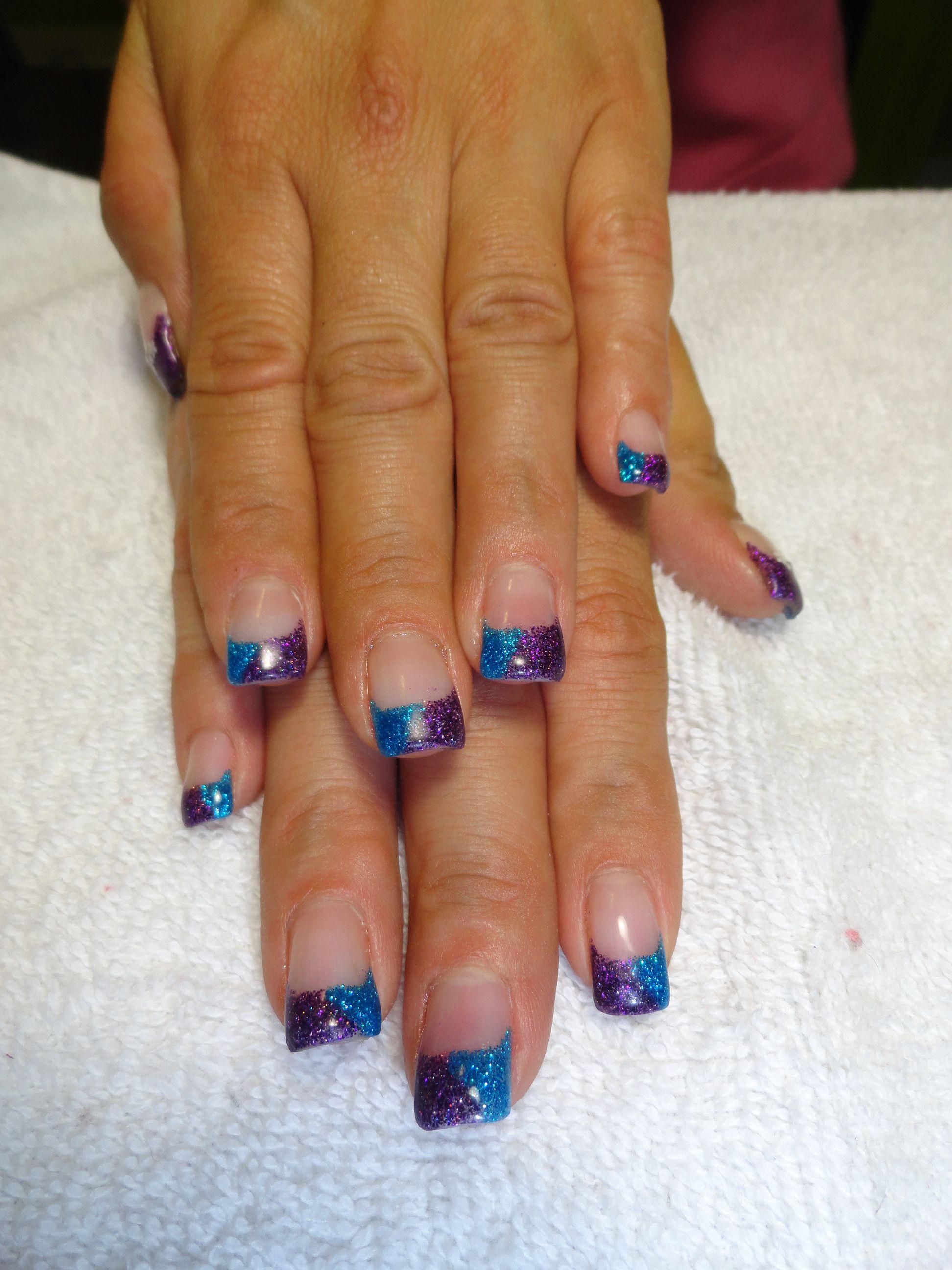 Blue Purple Glitter Gel Nail Tips I Love These Two Colors Together Glitter Gel Nails Gel Nail Tips Glitter Gel