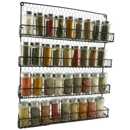 4 Tier Metal Spice Rack Wall Mount Kitchen Spices