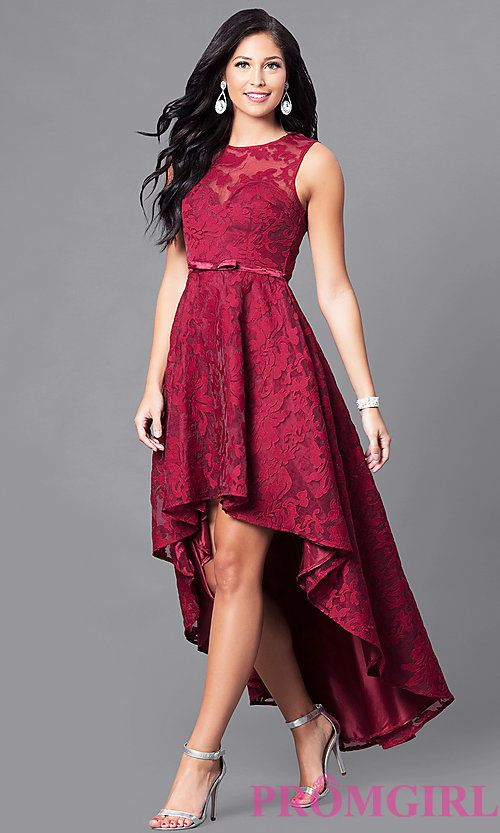 abb69e63a8b9 Image of high-low lace sleeveless semi-formal dress. Style  LP-24056 Front  Image