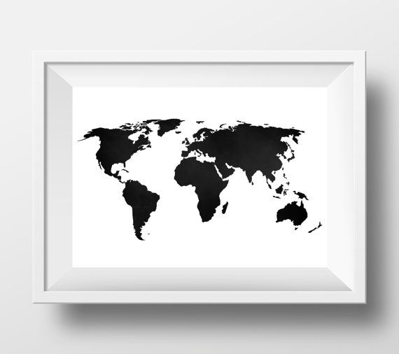 World map print world map poster black and white large world map world map print world map poster black and white large gumiabroncs Gallery