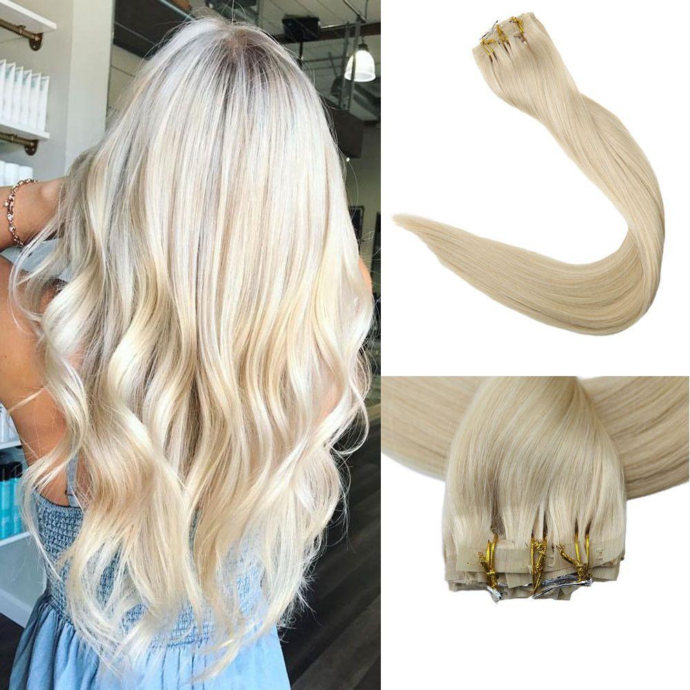 Full shine pcs seamless blonde clip hair extensions full head